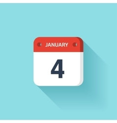 January 4 isometric calendar icon with shadow vector