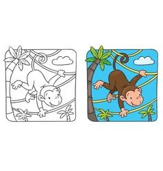 Little funny monkey on lians vector image vector image