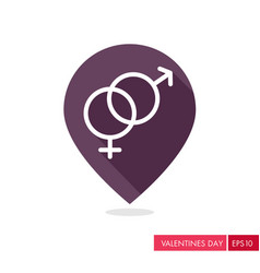 Male and female pin map icon symbols vector