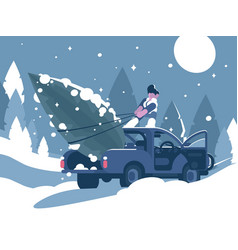 man loading christmas tree in car vector image vector image