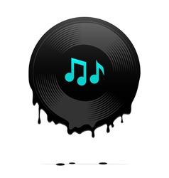 Melted vinyl record with musical notes vector image vector image
