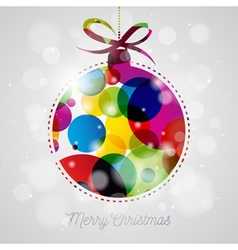 Merry Christmas Holiday with abstract glass ball vector image