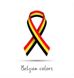 modern colored ribbon with the belgian tricolor vector image vector image