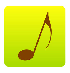music note sign brown icon at green vector image vector image