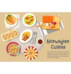 Norwegian traditional christmas dinner flat icon vector