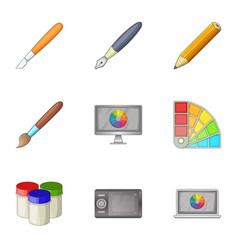 Paint tools interface icons set cartoon style vector