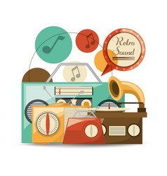 retro radio to listent cds music vector image