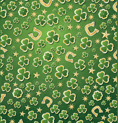Saint patricks day background with clover golden vector