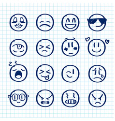 Set of hand drawn smiles on realistic paper vector