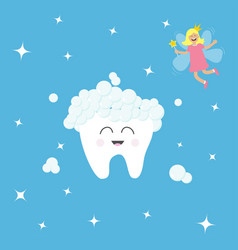 Tooth icon tooth fairy flying wings magic wand vector
