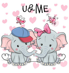 Two cute cartoon elephants and butterflies vector