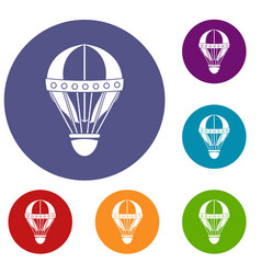 Vintage hot air balloon icons set vector