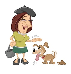 Woman petting pet dog vector