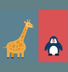 Zoo wild animals flat icon set vector