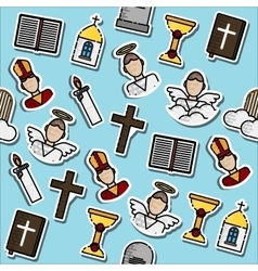 Colored christianity icons pattern vector