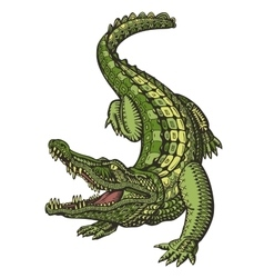 Crocodile or alligator animal in ethnic style vector