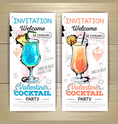 Valentine cocktail party posterInvitation design vector image