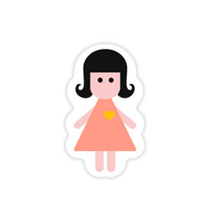paper sticker on white background girl in love vector image