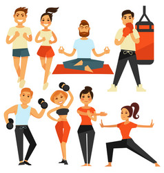 People fitness and sport exercise or training vector