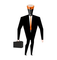 Battery businessman boss accumulator in business vector