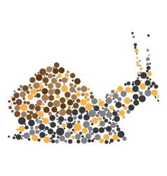 Dotted colorful snail silhouette vector