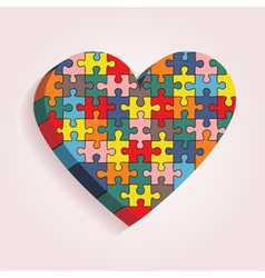 Abstract heart made of puzzle pieces vector image