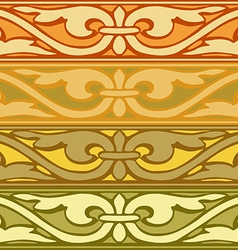Set of decorative borders vintage style gold vector