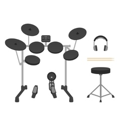 Electronic drum set headphones drumsticks and vector