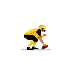 American football sign player with the ball vector