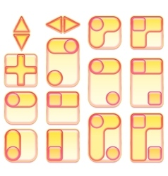 Pink and yellow buttons set vector