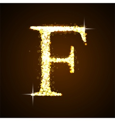 Alphabets f of gold glittering stars vector