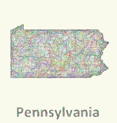 Pennsylvania line art map vector