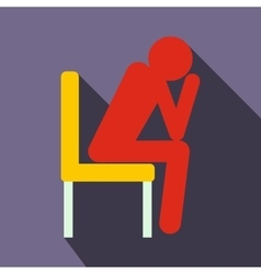 Sad man sitting on chair icon flat style vector