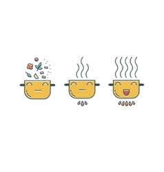 Funny pot icons set vector image