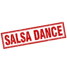 Salsa dance red square grunge stamp on white vector