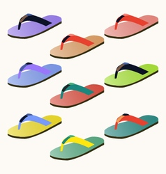 Set of colorful flip flops vector