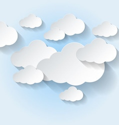 Paper clouds on light blue sky vector
