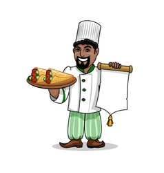 Arabian restaurant chef with menu and pita kebab vector