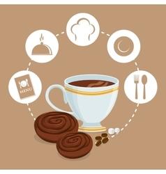 Breakfast cup coffee cookies sugar badge beige vector