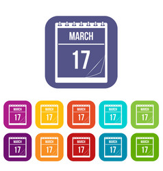 calendar with date of march 17 icons set flat vector image