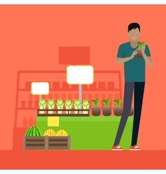 Customer in grocery store vector