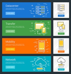 Datacenter Transfer Mobility Network Flat Design vector image