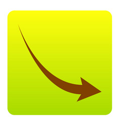 Declining arrow sign brown icon at green vector