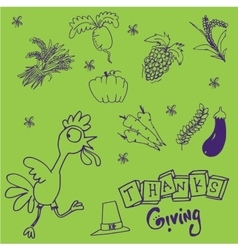 Doodle set thanksgiving on green backgrounds vector
