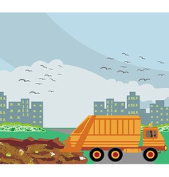Dump on the road to the city vector