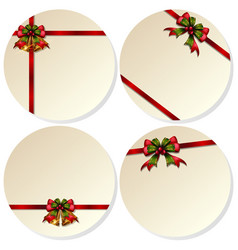 four round cards with christmas bells vector image