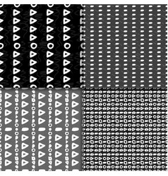 Geometric monochrome seamless pattern set vector