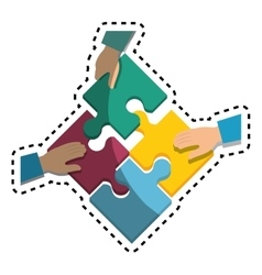 Hand human with puzzle pieces game icon vector