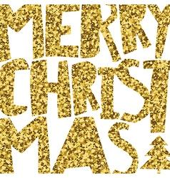 Happy Merry Christmas Golden glittering vector image