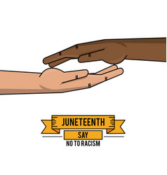 Juneteenth day together hand fight freddom vector